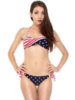 Bikini Twisted Tube USA Flag Stars Stripes Padded Strapless Swimwear