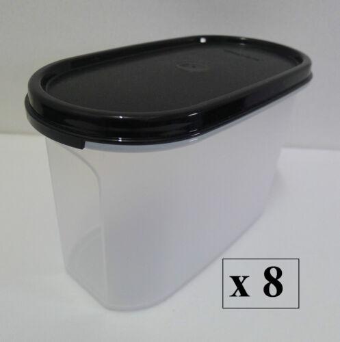 Free Shipping Black // Red Set of 8 Tupperware Modular Mates OVAL II : 1.1L