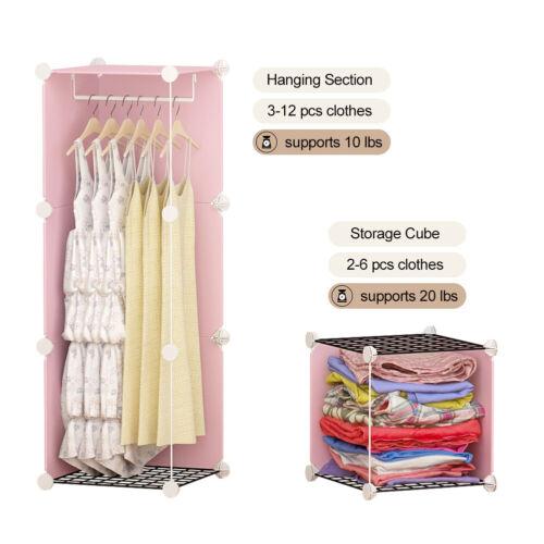 Depth 14 inche Portable Closet Wardrobe Dresser Cube Storage Organizer,25 Cubes