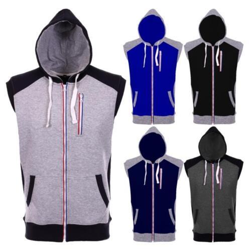 New Mens Plain Sleeveless Fleece Hooded Top Jacket Waistcoat Body warmer Gilet