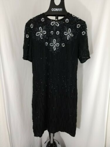 NWT Jewel Queen  Black Silk Beaded Sequined Evenin