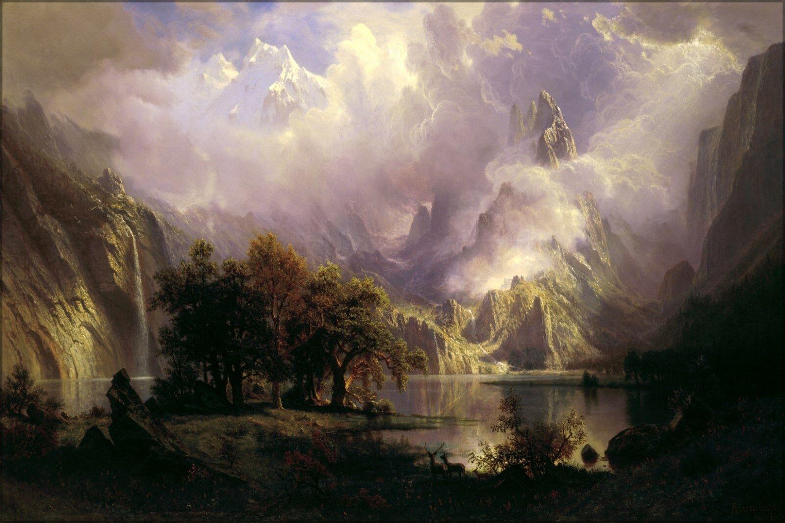 Affiche, Plusieurs Tailles; Rocky Montagnes Paysage Paysage Paysage par Albert Bierstadt 1870 | Vente En Ligne  | Forme élégante  | Pas Cher  | Des Styles Différents  2d9d19