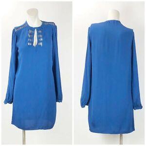 Diane-Von-Furstenberg-4-Womens-Blue-Silk-Accent-Long-Sleeve-Dress