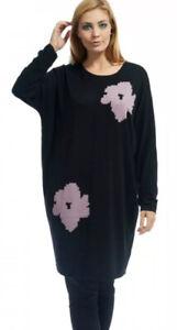 Masai-Flika-Oversize-Knit-Tunic-Dress-Sz-L-14-16-Black-Pink-Merino-Wool-Blend