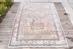 Turkish-Rug-54-039-039-x84-039-039-Vintage-Light-Muted-Color-Oushak-Wool-Carpet-139x215cm