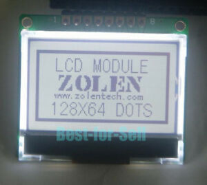 12864-128x64-Serial-SPI-Graphic-COG-White-LCD-Display-Module-LCM-w-ST7565P-5V
