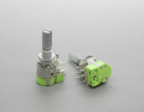 2x12mm B50K 50K Linear Taper Dual Potentiometer with Switch Knurled Shaft