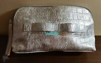 Saks Fifth Ave Cosmetic Bag Faux Leather Silver Metallic 2015 Event