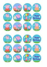 Peppa Pig Edible Fairy Cup Cake Decoration Toppers Rice Paper x 24