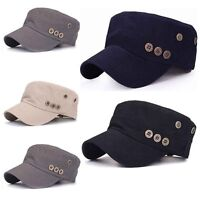 Men Women Classic Army Plain Vintage Hat Cadet Military Baseball Adjustable Cap