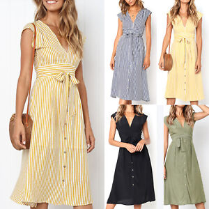 Womens-Midi-Tea-Dress-V-Neck-Lace-Up-Stripe-Summer-Casual-Skater-A-Line-Dresses