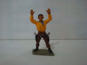 Figurine ancienne Starlux Nestlé : far west ref 140 cow boy bras levés n°3
