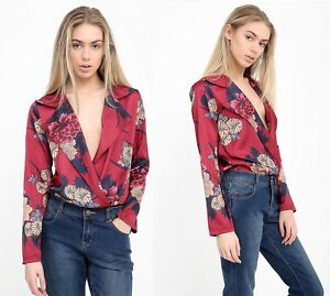 5473601a981a0 Image is loading Womens-Floral-Print-Satin-Plunge-Neck-Bodysuit-Jumpsuit-