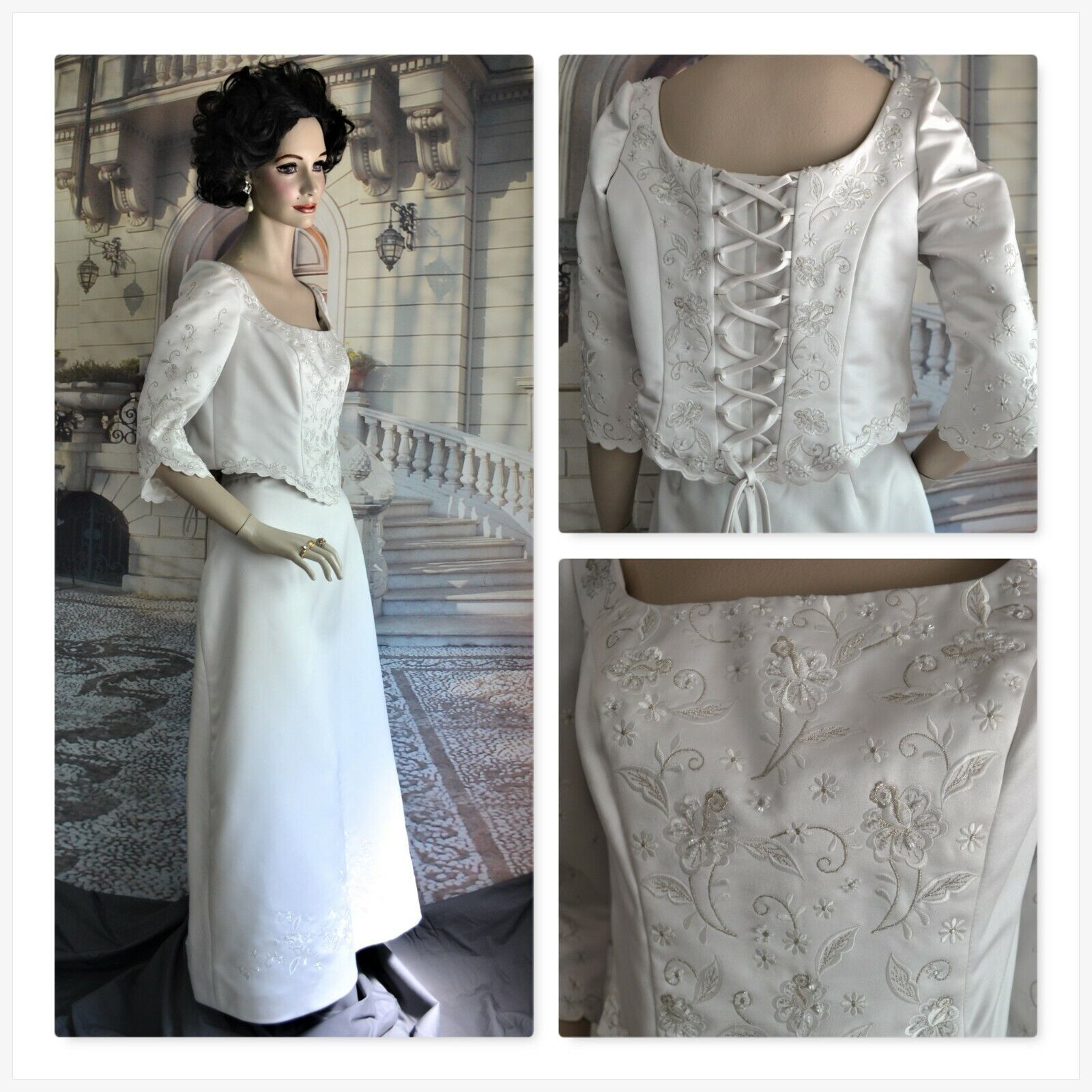 VENEZIA dress evening formal long SIZE 14 to 16 pale silvery white EMBELLISHED