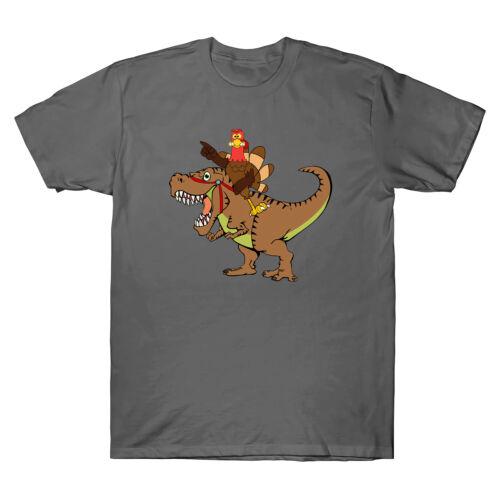 Turkey Riding T Rex Thanksgiving Men/'s T Shirt Gift