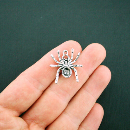 4 Spider Charms Antique Silver Tone Great Details SC5913