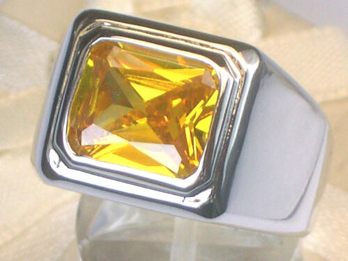 11X9 mm Solitaire November Yellow Solitaire Stone Men/'s Rhodium Ring Size 13