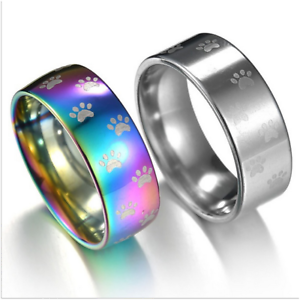 Image Is Loading Cute Cat Dog Paw Ring Stainless Steel Rainbow