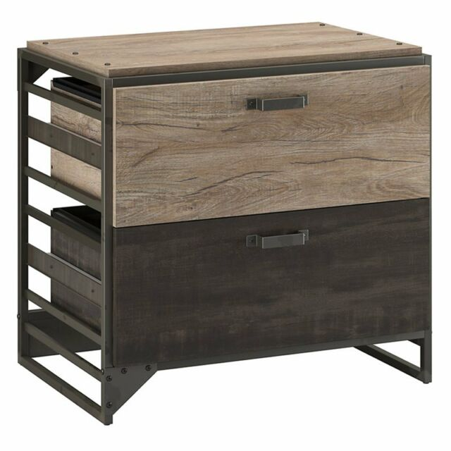 Rustic 2 Drawer File Cabinet Wood Metal Country Industrial Home Office Furniture for sale online
