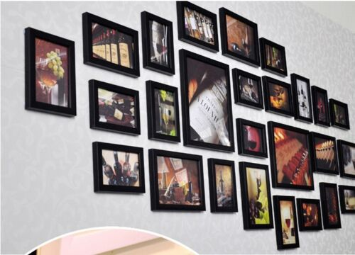 Wood 26pcs Multi Picture Collage Set Wall Mount Photo Frames Home Decor
