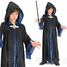 BOYS WIZARD ROBE FANCY DRESS COSTUME FAIRYTALE KIDS BOY CHILDS OUTFIT NEW BLACK  sc 1 st  eBay & Boys Wizard Robe Costume for Magician Merlin Fancy Dress Outfit to ...