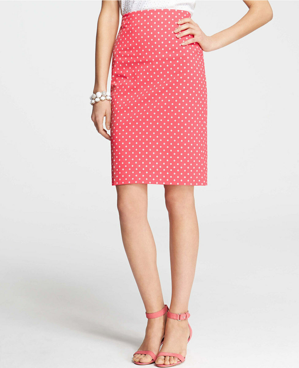 Ann Taylor Summer Dot Print Stretch Cotton Pencil Skirt Size 12 Petite Guava