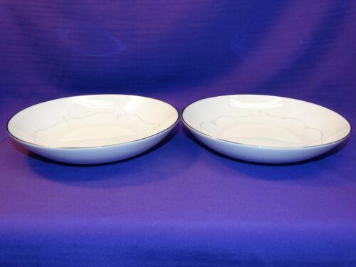 2 NORITAKE BONE CHINA WHITEBROOK 6441 COUPE SOUP BOWLS W//PLATINUM