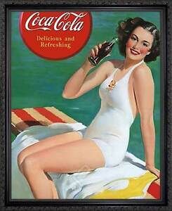 Coca Cola Delicious And Refreshing Framed Vintage 50s Pin Up Style Ad Poster Ebay