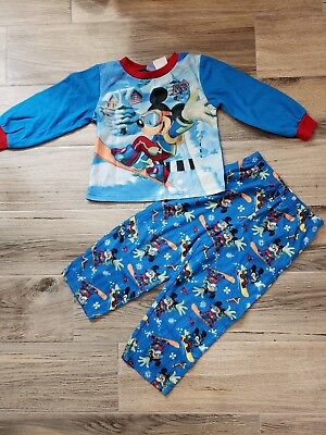 Disney Mickey Mouse Christmas Pajamas Boys size 10 Fleece 2 piece