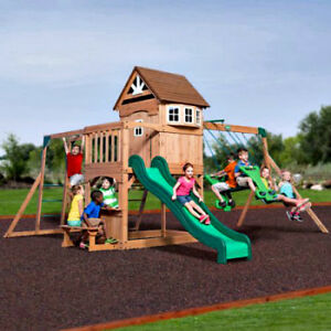 Image Is Loading Cedar Wood Swing Set Kids Backyard Playground Climbing