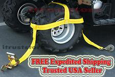 Wheel Rim Tire Bonnet Tie Down Ratchet Strap Yamaha Grizzly Polaris RZR Kawasaki