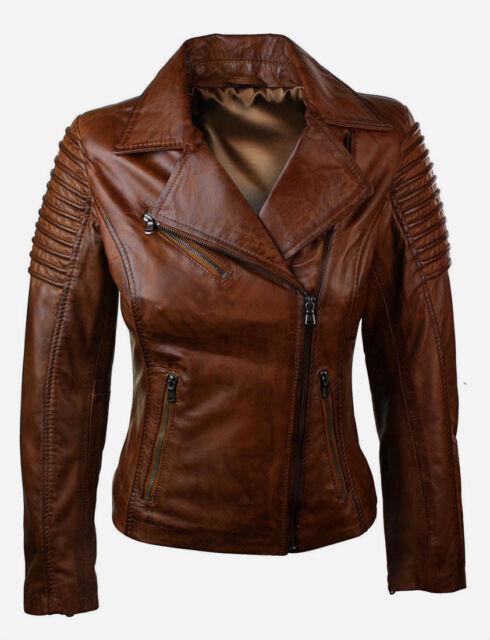 Womens Ladies Vintage Waxed Real Leather Brown Short Slim Fit Biker Retro Jacket