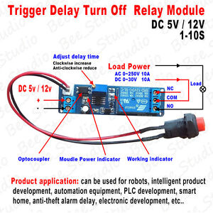 DC 5V 12V Adjustable Timing Timer Delay Turn OFF Relay Switch Time