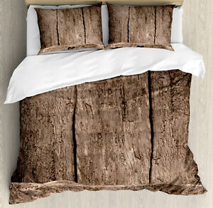 Primitive-Country-Duvet-Cover-Set-with-Pillow-Shams-Heart-on-Wood-Print