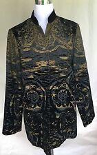 CHICOS DUSTER 2 Black Gold Flocked Velvet Mandarin Collar Jacket Large 12 14 L