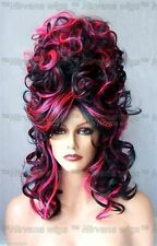 Black w Hot Pink Cone Beehive Curls Drag Shoulder Length Womens/Mens Casha Wig