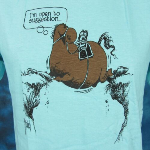 NOS vintage 80s HORSE OPEN TO SUGGESTION CARTOON WILEY MILLER T-Shirt S//M cowboy