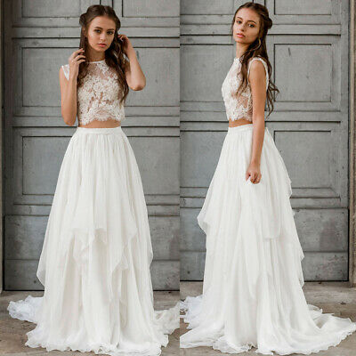 2 Pieces Beach Wedding Dresses Lace Top Ruffle Skirt A Line Chiffon Bridal Gowns Ebay