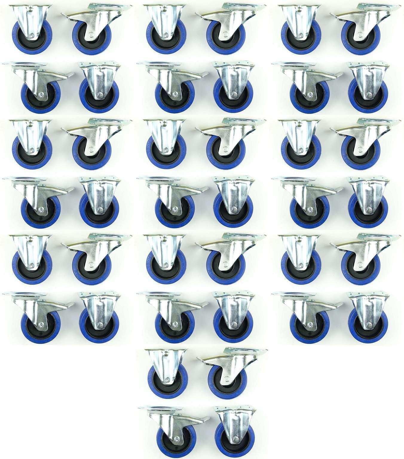 10 Set 100 mm SL Rollen Transportrollen Bockrollen Blau Wheels Schwerlast BREMSE