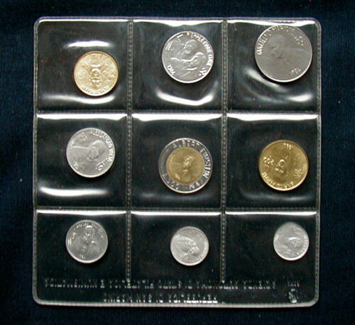1984 San Marino Italy complete set 9 coins UNC official plastic box Scientists