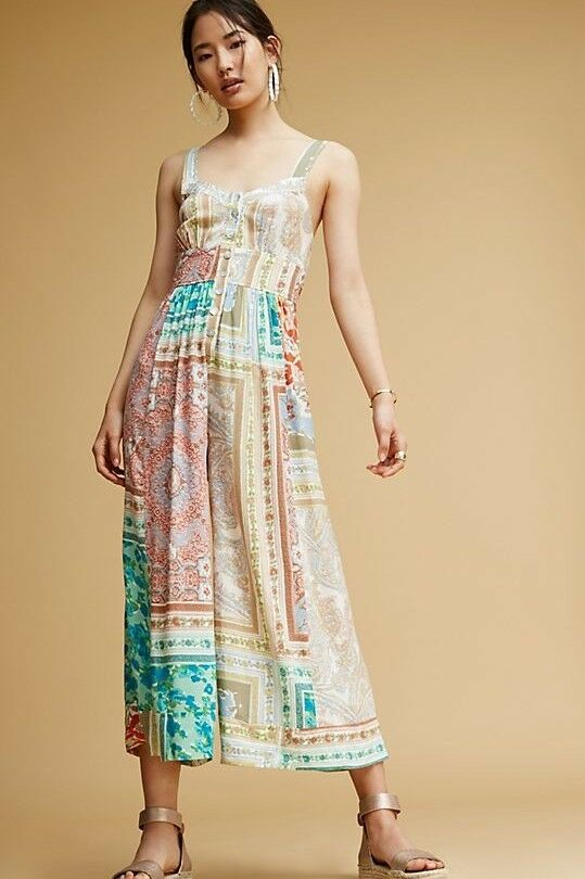 NWT Anthropologie Patchwork Jumpsuit by Plenty by Tracy Reese Sz 12 Retail
