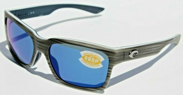 COSTA DEL MAR PLAYA SUNGLASSES Silver Teak Blue Mirror 580P Polarized lens