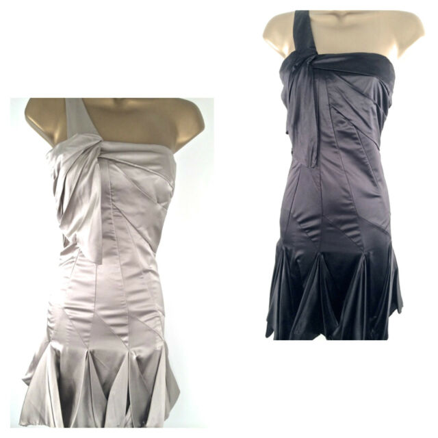 8ac9e8b17f32 Karen Millen Womens One Shoulder Pleated Silk Cocktail Party Dress Ladies  UK Sz