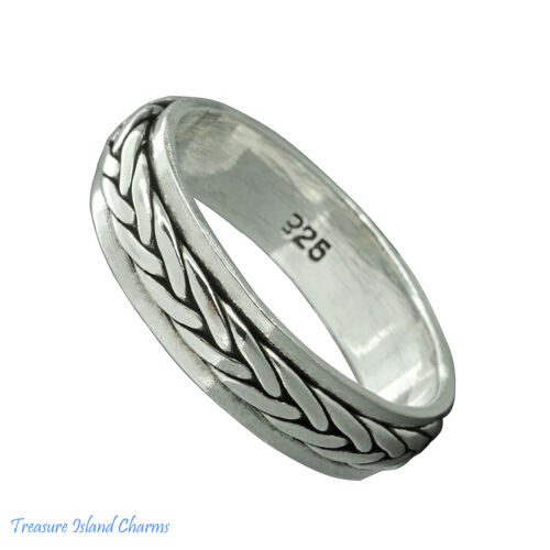 Celtic Weave Braid Spinner Spinning 925 Sterling Silver Ring 5 mm Band Taille 6-13