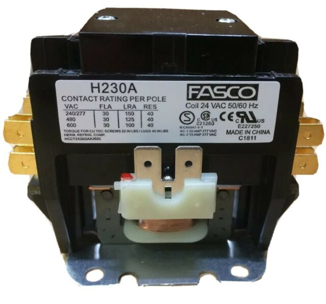 Fasco H230a Definite Purpose Contactor 2p 30 Fla 40a Res