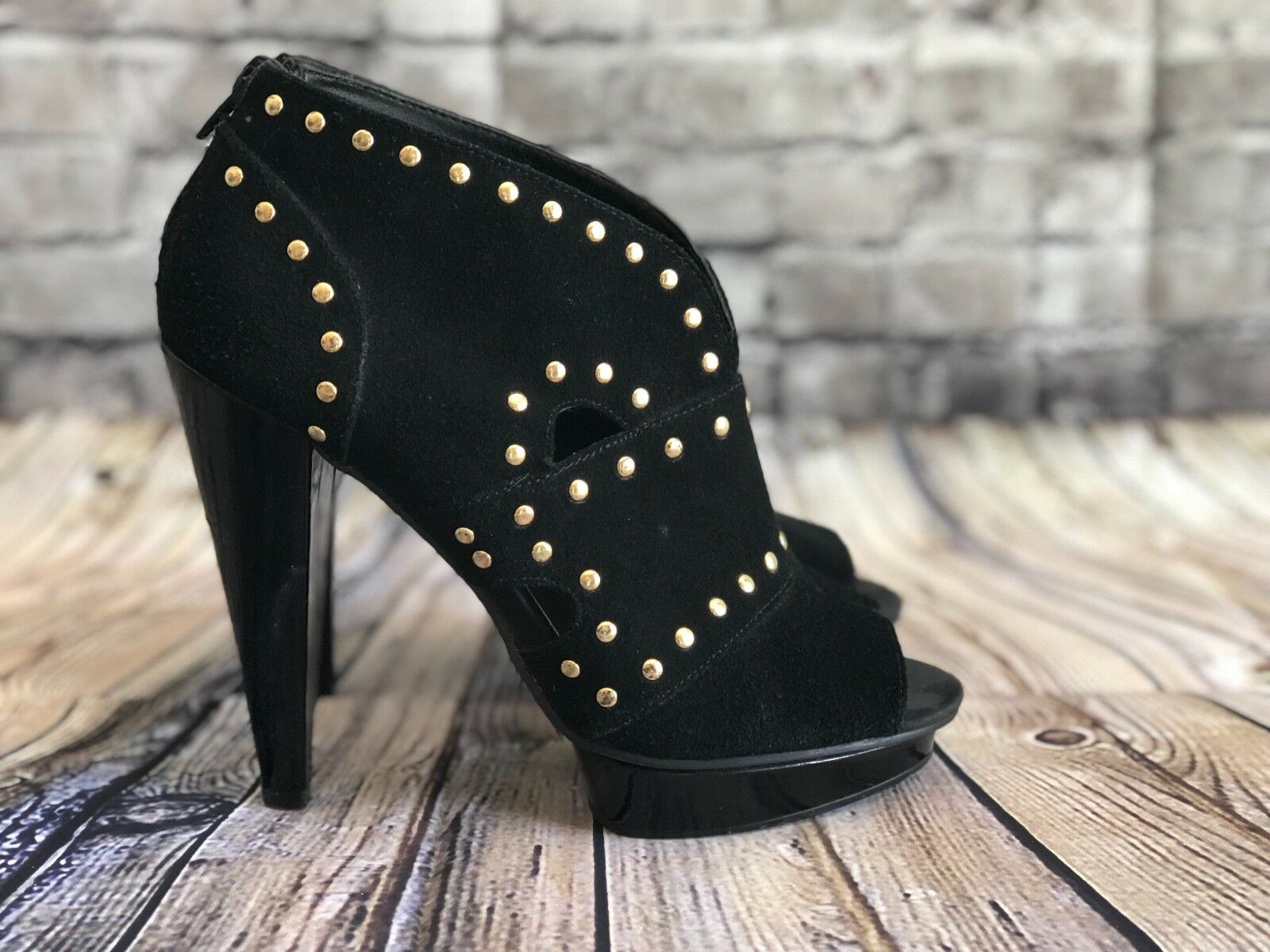 Steve Madden Womans 6.5 Ankle Boots Booties Black Suede Studded Platform PeepToe
