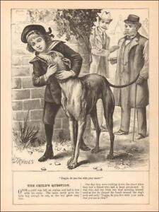 SKINNY-GREYHOUND-DOG-amp-BOY-antique-engraving-original-1899