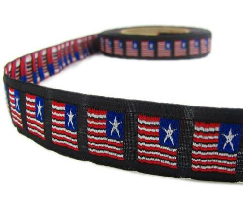 "1 Yd Patriotic American Flag Veterans Woven Jacquard Trim Ribbon 7//8/""W"