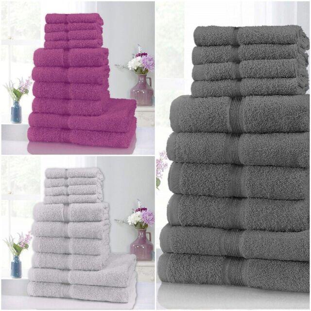 LUXURY 10 PIECE TOWEL BALE SET 100/% PURE EGYPTIAN COTTON FACE HAND BATH TOWELS