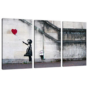 Bon Image Is Loading Set Of 3 Large Banksy Canvas Wall Art